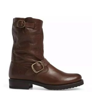 Frye Veronica Short Slouchy Leather Boot Brown NEW
